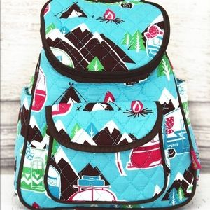 New! Happy camper quilted backpack w/brown trim